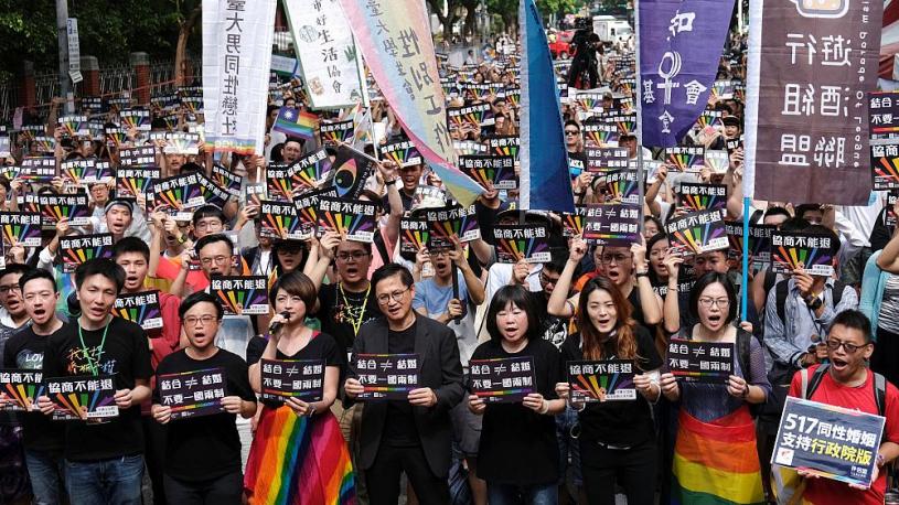La communauté LGBT manifeste en faveur du mariage homosexuel à Taïwan
