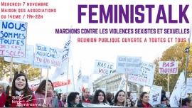 Feministalk : Luttons contre les violences sexistes et sexuelles in Paris le Wed, November  7, 2018 from 07:30 pm to 10:00 pm (Meetings / Discussions Lesbian)