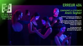Erreur 404 : spectacle - internet et genres à Paris le ven. 22 mars 2019 de 20h00 à 21h30 (Spectacle Gay, Lesbienne, Trans, Bi)