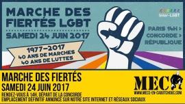 Marche des fiertés (MEC) à Paris le sam. 24 juin 2017 de 14h00 à 19h00 (Parades / Défilés Gay)