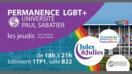Permanence LGBT+ Univ Paul Sab - Jules & Julies à Toulouse le jeu. 17 janvier 2019 de 18h00 à 21h00 (Rencontres / Débats Gay, Lesbienne)