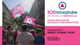 Devenir bénévole à SOS homophobie ? Apéro rencontre Marseille à Marseille le mar. 19 mars 2019 de 19h30 à 20h30 (After-Work Gay, Lesbienne, Hétéro Friendly, Trans, Bi)