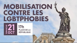 Mobilisation contre les LGBTphobies in Paris le Sun, October 21, 2018 from 05:00 pm to 08:00 pm (Parades Gay, Lesbian, Trans, Bi)