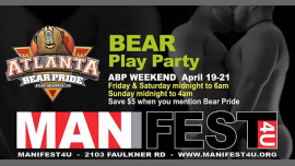AtlantaAtlanta Bear Pride Play Party at Mainfest Fri Sat Sun从2019年 9月21日到11月19日(男同性恋, 熊 俱乐部/夜总会)
