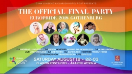Official EuroPride 2018 final party à Göteborg le sam. 18 août 2018 de 22h00 à 03h00 (Clubbing Gay, Lesbienne)