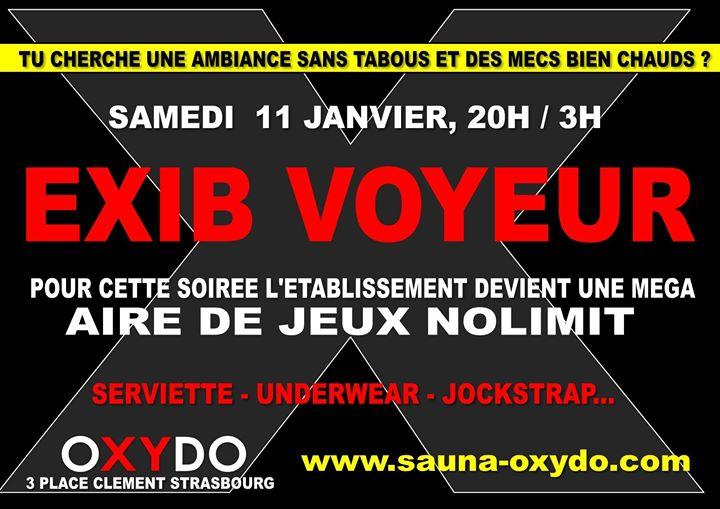 Exib voyeur à Strasbourg le sam. 11 janvier 2020 de 20h00 à 03h00 (Sexe Gay)