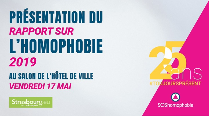 Présentation du rapport annuel de SOS Homophobie 2018 in Strasbourg le Fr 17. Mai, 2019 18.30 bis 21.30 (Begegnungen Gay, Lesbierin)