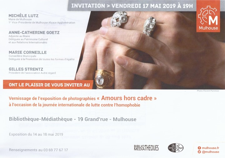 "Vernissage de l'exposition photo ""Amours hors cadre"" in Mulhouse le Fr 17. Mai, 2019 19.00 bis 20.00 (Expo Gay, Lesbierin)"