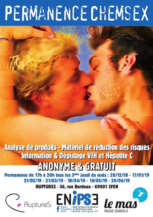 Permanence Chemsex #2 in Lyon le Thu, June 20, 2019 from 05:00 pm to 08:00 pm (Health care Gay, Lesbian)