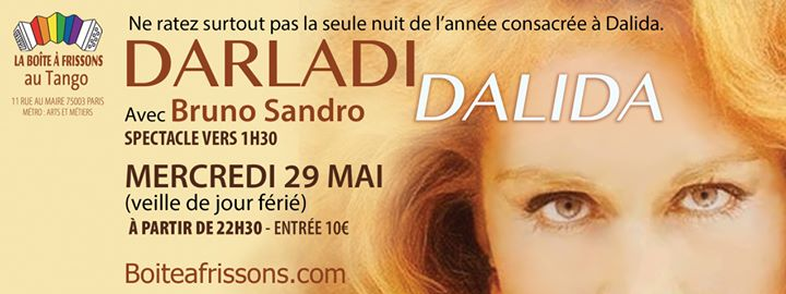 Darladi Dalida in Paris le Wed, May 29, 2019 from 10:30 pm to 05:00 am (Clubbing Gay, Lesbian)