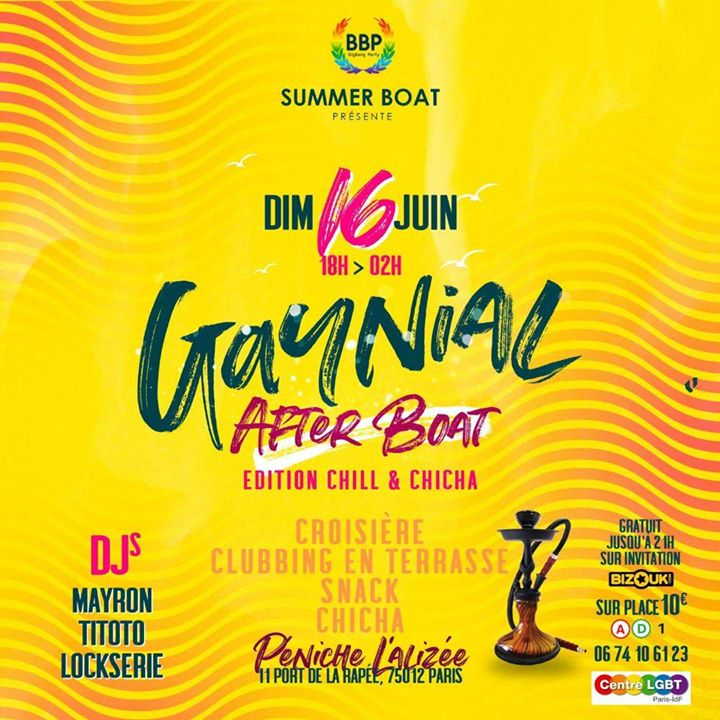 Gaynial After Boat Dancing LGBT in Paris le Sun, June 30, 2019 from 06:00 pm to 02:00 am (After-Work Gay, Lesbian, Hetero Friendly)