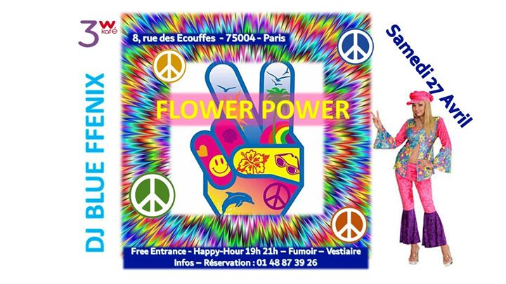 巴黎Flower POWER on Saturday2019年 7月31日,19:00(男同性恋友好, 女同性恋 下班后的活动)