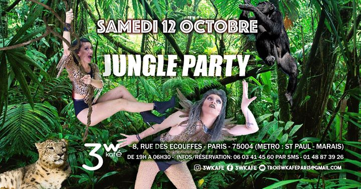 Jungle PARTY in Paris le Sat, October 12, 2019 from 07:00 pm to 06:30 am (Clubbing Gay Friendly, Lesbian)