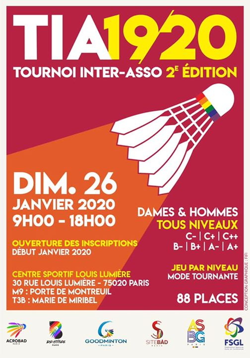 TIA 2e édition du 26/1 in Paris le Sun, January 26, 2020 from 09:00 am to 06:00 pm (Sport Gay, Lesbian, Trans, Bi)