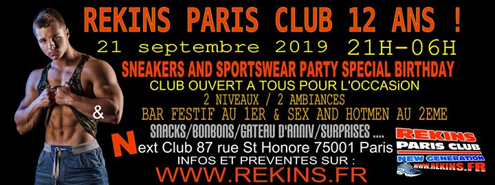 Sneakers And Sportswear Party Special 12th Birthday Edition in Paris le Sat, September 21, 2019 from 09:00 pm to 11:00 pm (Sex Gay)