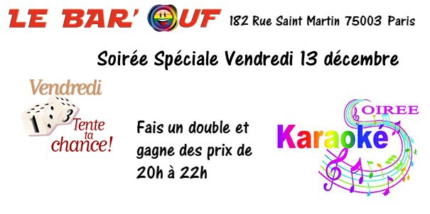 Le Bar'Ouf : Soirée Karaoké et jeux in Paris le Fri, December 13, 2019 from 07:00 pm to 10:00 pm (After-Work Gay Friendly, Lesbian)