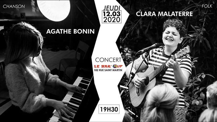 Concert Live // Clara Malaterre x Agathe Bonin // Le Bar'Ouf in Paris le Thu, March 12, 2020 at 07:30 pm (Concert Gay Friendly, Lesbian)