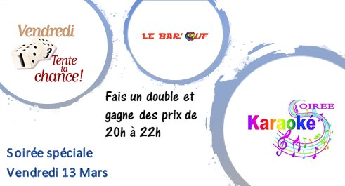 Le Bar'Ouf : Vendredi 13 à Paris le ven. 13 mars 2020 de 20h00 à 22h00 (After-Work Gay Friendly, Lesbienne)