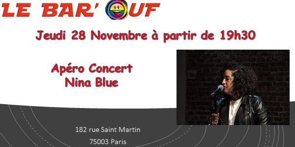 Apéro Concert : Nina Blue in Paris le Thu, November 28, 2019 from 07:30 pm to 10:00 pm (After-Work Gay Friendly, Lesbian)
