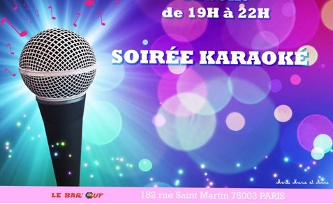 Le Bar'Ouf : Karaoké in Paris le Fri, November 29, 2019 from 07:00 pm to 10:00 pm (After-Work Gay Friendly, Lesbian)