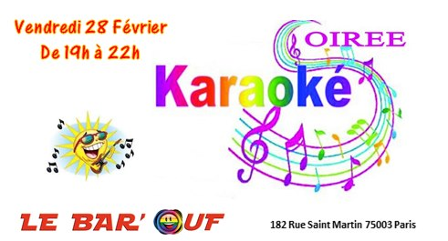 Le Bar'Ouf Karaoké à Paris le ven. 28 février 2020 de 19h00 à 22h00 (After-Work Gay Friendly, Lesbienne)