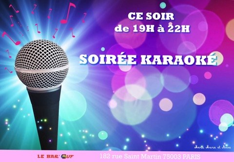 Le Bar'Ouf : Karaoke à Paris le ven. 15 novembre 2019 de 19h00 à 22h00 (After-Work Gay Friendly, Lesbienne)