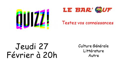 Le Bar'Ouf : Quizz Culture Générale in Paris le Thu, February 27, 2020 from 08:00 pm to 10:00 pm (After-Work Gay Friendly, Lesbian)
