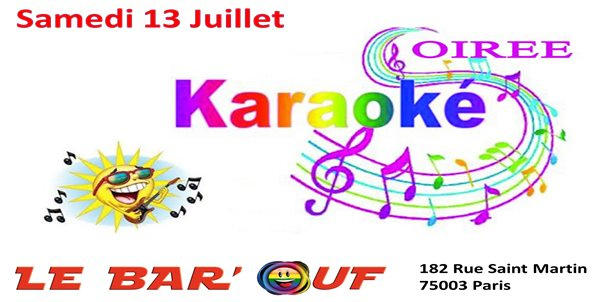 Le Bar'Ouf Karaoké in Paris le Sat, July 13, 2019 from 08:00 pm to 11:55 pm (After-Work Gay Friendly, Lesbian)