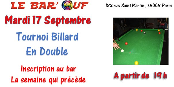 Le Bar'Ouf : Tournoi de billard en double à Paris le mar. 17 septembre 2019 de 19h00 à 23h30 (After-Work Gay Friendly, Lesbienne)