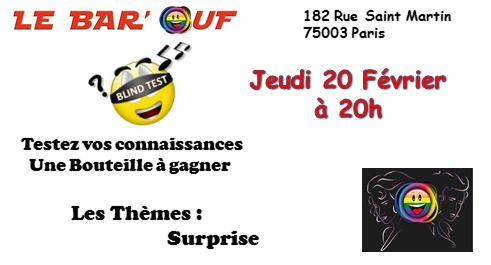 Le Bar'Ouf : Blind Test Musical in Paris le Thu, February 20, 2020 from 08:00 pm to 09:30 pm (After-Work Gay Friendly, Lesbian)