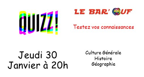 LeBar'Ouf Quizz in Paris le Thu, January 30, 2020 from 08:00 pm to 09:30 pm (After-Work Gay Friendly, Lesbian)