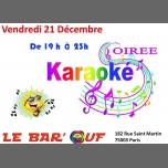 Le Bar'Ouf : Soiree Karaoké à Paris le ven. 21 décembre 2018 de 19h00 à 22h30 (After-Work Gay Friendly, Lesbienne)