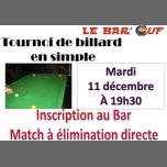 Le Bar'Ouf : Tournoi Billard en simple in Paris le Tue, December 11, 2018 from 07:30 pm to 11:30 pm (After-Work Gay Friendly, Lesbian)