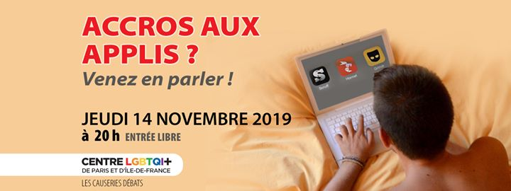 Accros aux applis ? Venez en parler ! em Paris le qua, 27 novembro 2019 20:00-22:30 (Reuniões / Debates Gay, Lesbica, Hetero Friendly, Bear)