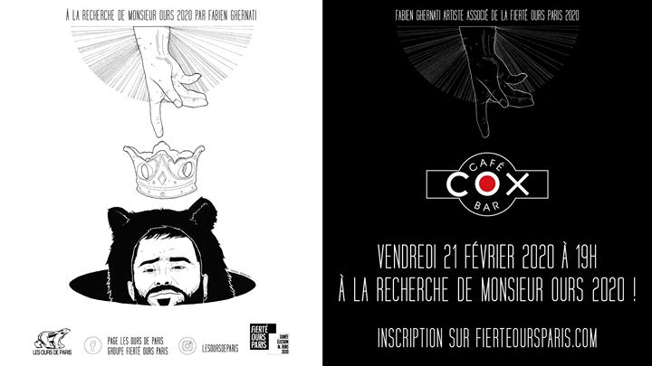 À la recherche de Monsieur Ours 2020 au COX in Paris le Fri, February 21, 2020 from 07:00 pm to 11:00 pm (After-Work Gay)