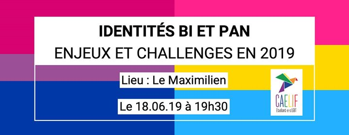 Table ronde - Identités Bi/Pan in Paris le Di 18. Juni, 2019 19.30 bis 22.30 (Begegnungen / Debatte Gay, Lesbierin, Transsexuell, Bi)