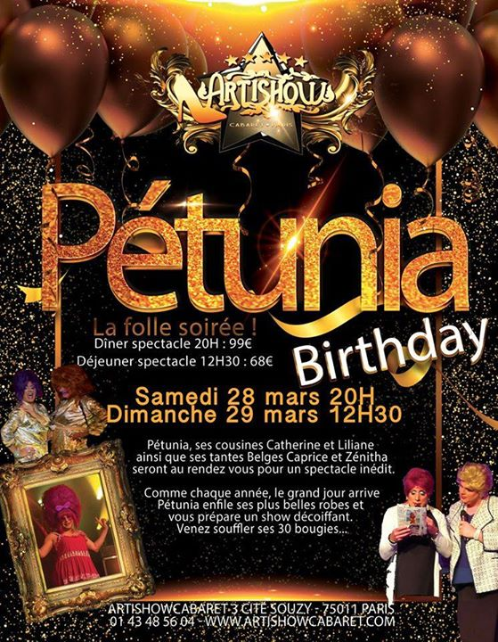 Happy Birthday Pétunia avec ses copines belges ! 28 & 29 mars ! in Paris le Sa 28. März, 2020 20.00 bis 17.00 (Vorstellung Gay Friendly)