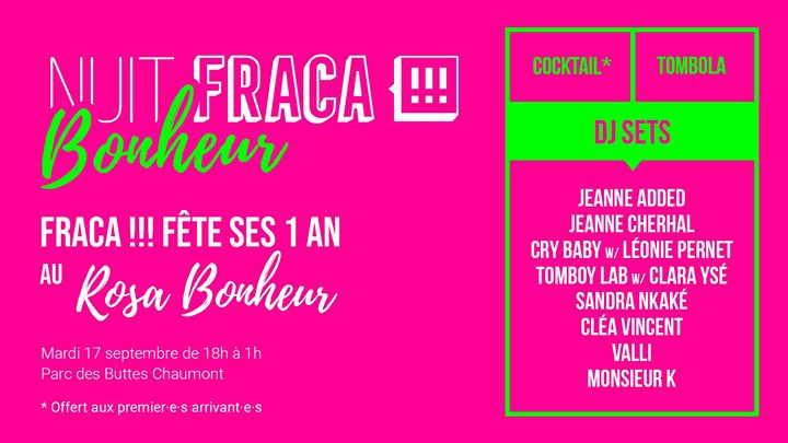 NUIT Fraca!!! Bonheur pour les 1 an du label à Paris le mar. 17 septembre 2019 de 18h00 à 01h00 (After-Work Gay Friendly, Lesbienne Friendly)