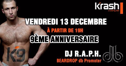 K9 - 9ème Anniversaire du Krash à Paris le ven. 13 décembre 2019 de 19h00 à 07h00 (Sexe Gay)