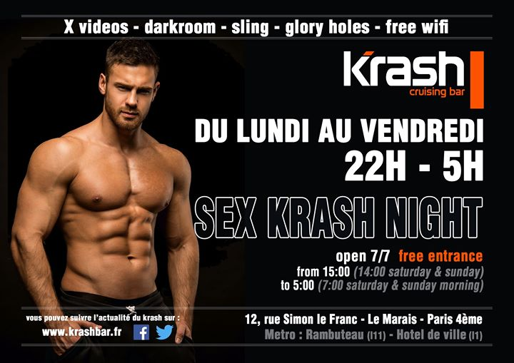 Sex Krash Night a Parigi le gio  5 dicembre 2019 22:00-05:00 (Sesso Gay)