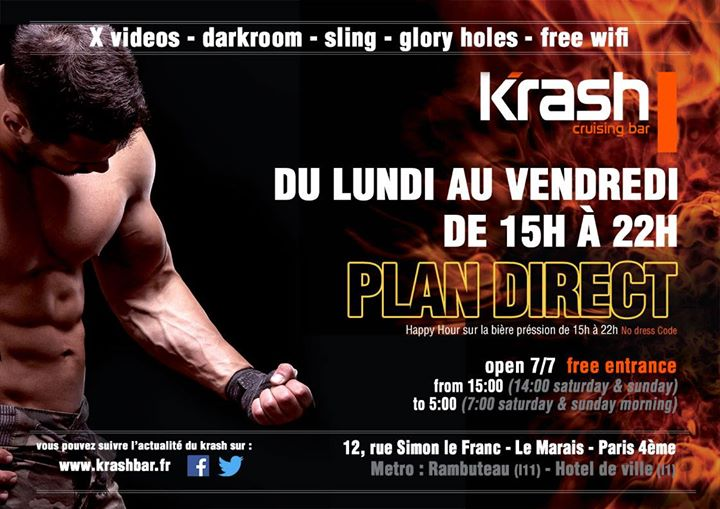 Plan Direct - Krash in Paris le Wed, January 22, 2020 from 03:00 pm to 10:00 pm (Sex Gay)