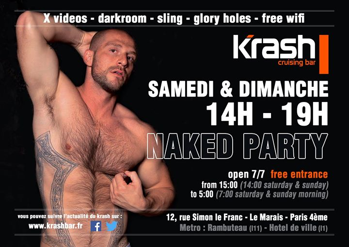 Naked Party dimanche - Krash in Paris le So  5. Juli, 2020 14.00 bis 19.00 (Sexe Gay)