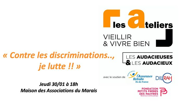 Contre les discriminations je lutte in Paris le Thu, January 30, 2020 from 06:00 pm to 08:00 pm (Meetings / Discussions Gay, Lesbian, Hetero Friendly, Trans, Bi)
