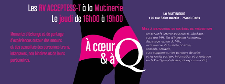A cœur et a Q in Paris le Thu, November 21, 2019 from 03:00 pm to 07:00 pm (Health care Gay, Lesbian, Trans, Bi)