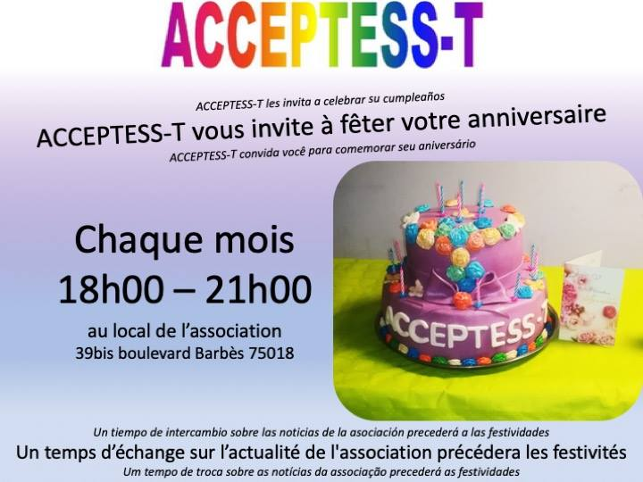 Anniversaires et Vie associative en Paris le jue 29 de agosto de 2019 18:00-21:00 (Vida asociativa Gay, Lesbiana, Trans, Bi)