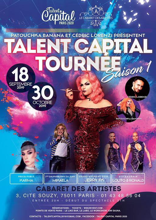Talent Capital la tournée saison 1 à Paris le mer. 18 septembre 2019 de 20h00 à 23h55 (Spectacle Gay, Lesbienne, Hétéro Friendly, Trans, Bi)