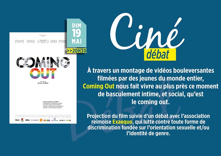 "Ciné-Débat ""Coming Out"" in Châlons-sur-Marne le Sun, May 19, 2019 from 08:30 pm to 10:30 pm (Cinema Gay, Lesbian, Trans, Bi)"