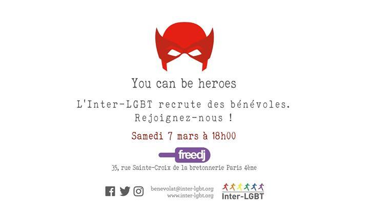 L'Inter-LGBT recrute des bénévoles ! à Paris le sam.  7 mars 2020 de 18h00 à 19h30 (After-Work Gay, Lesbienne)