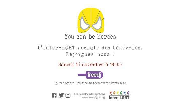 L'Inter-LGBT recrute des bénévoles ! en Paris le sáb 16 de noviembre de 2019 18:00-19:30 (After-Work Gay, Lesbiana)
