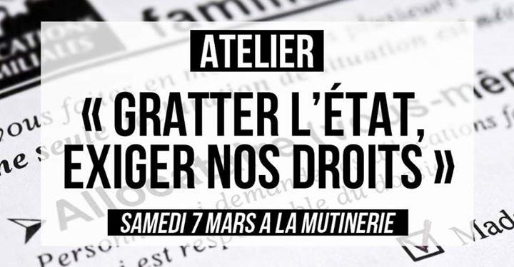 Atelier : « Gratter l'Etat, exiger nos droits » in Paris le Sat, March  7, 2020 from 02:00 pm to 04:30 pm (Workshop Lesbian)
